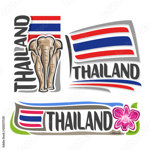 Vector Logo Thailand 3 Isolated Images Vertical Banner Royal White