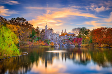 Central Park, New York City at Belvedere Castle in the autumn.