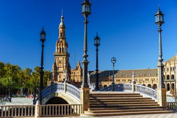 Plaza de Espana in Sevilla on a sunny day