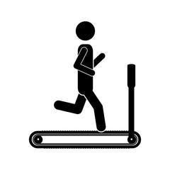 silhouette monochrome with man in treadmill vector illustration