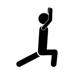 silhouette monochrome man squat icon vector illustration