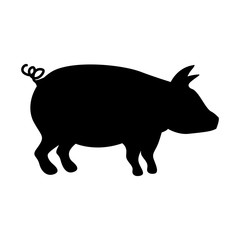 silhouette monochrome color with pig vector illustration