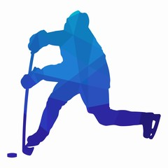 silhouette of a ice hockey player. vector drawing