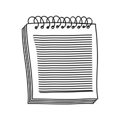 contour of notebook of spiral with sheets vector illustration