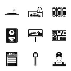 Parking area icons set. Simple illustration of 9 parking area vector icons for web