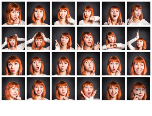 Young woman showing several expressions on black background.