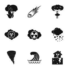 Natural catastrophe icons set. Simple illustration of 9 natural catastrophe vector icons for web