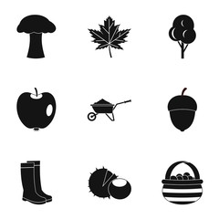 Autumn icons set. Simple illustration of 9 autumn vector icons for web