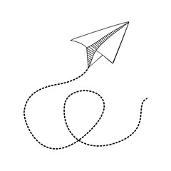 silhouette monochrome with paper plane and line dotted vector illustration