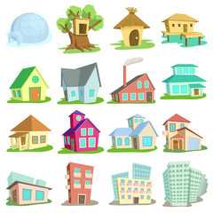 Houses icons set. Cartoon illustration of 16 houses vector icons for web