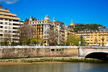 Embankment of Urumea river in sunny day. San Sebastian