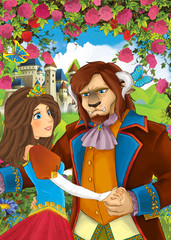 Cartoon scene of couple standing in the garden - princess and some not human prince or king - illustration for children