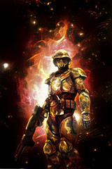 Wall Mural - futuristic space soldier