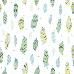 Feathers.Tenderness, softness. Seamless pattern with cute decorative feathers painted by hand. All elements are  hidden under mask. Pattern are not cropped and can be edited.