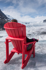 Relaxing on Athabasca Glacier