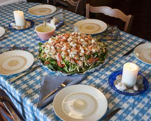 Lobster salad dinner spread