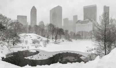 Frozen pond and heavy snowfall in Central Park with a panoramic view of Manhattan skyscrapers. Winter scene in New York City (Black & White)