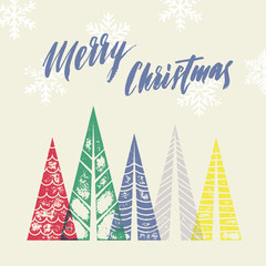 Christmas tree vector greeting card for merry holiday