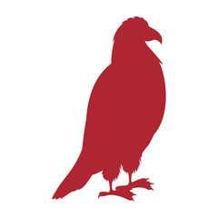 red silhouette eagle standing icon vector illustration