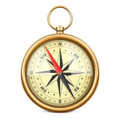 Antique Vintage Brass Compass. 3d Rendering