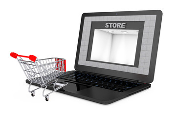 Online Shopping Concept. Shoppping Cart over Laptop with Store B