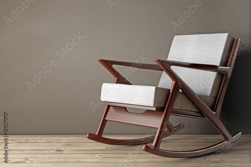 Rocking Chair Upholstered with White Cloth. 3d Rendering