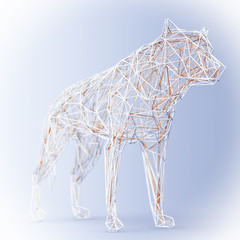 Abstract Wired Low Poly Wolf or Dog. 3d Rendering