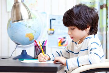 schoolboy doing homework
