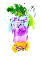 Watercolor rainbow cocktail