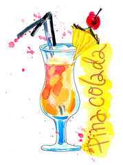 Watercolor pinacolada cocktail