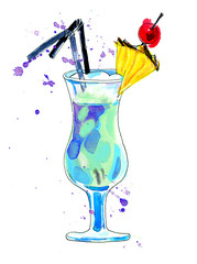 Watercolor blue cocktail