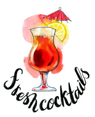 Watercolor red transparent cocktail
