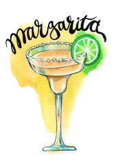 Watercolor margarita cocktail