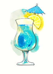 Watercolor blue transparent cocktail