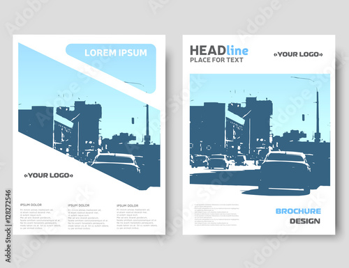 Blue Brochure Design. Vector Annual Report Template. Magazine Cover, Poster  Template. Cover