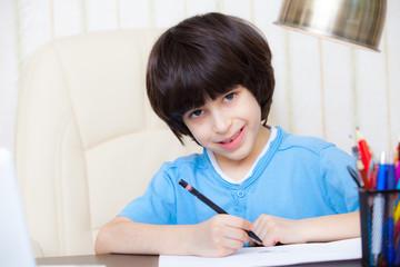 child doing homework with computer, portrait