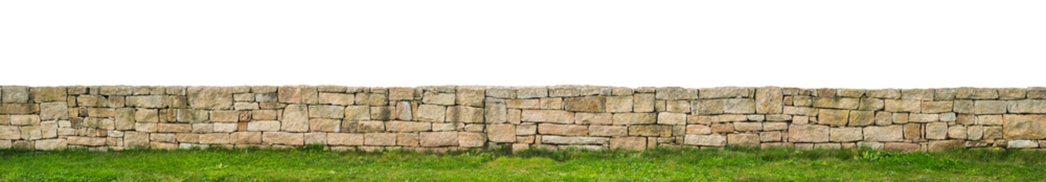 Panorama einer schönen Gartenmauer als Trockenmauer aus Granitblöcken - Panorama of a beautiful garden wall as a natural stone wall made of granite