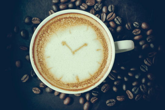 coffee time , watch drawing on latte art coffee cup,vintage styl