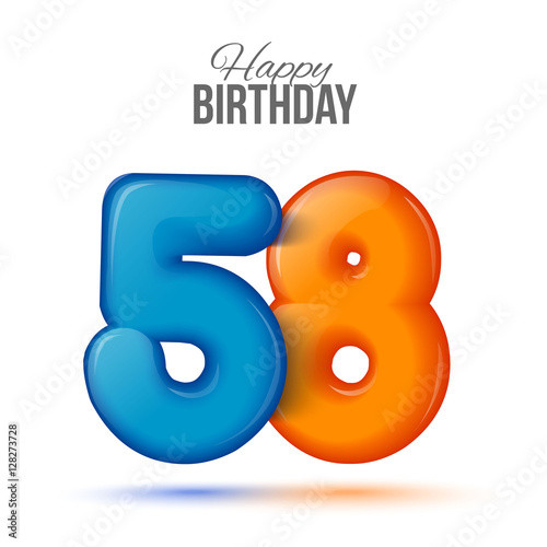 fifty eight birthday greeting card template with 3d shiny number