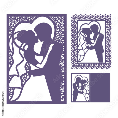 Bride and groom silhouette laser cut invitation vector postcard laser cut invitation vector postcard cutting paper floral motifs stopboris Choice Image