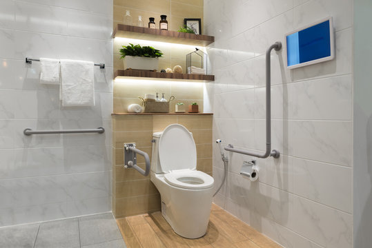 Interior of bathroom for the disabled or elderly people.