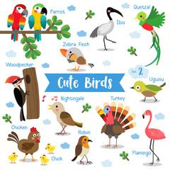 Cute Birds Animal cartoon on white background with animal name. Chicken. Chick. Flamingo. Parrot. Turkey. Nightingale. Woodpecker. Zebra Finch. Uguisu. Quetzal. Ibis. Robin. Vector illustration.Set 2.