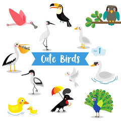 Cute Birds Animal cartoon on white background. Duck. Dove. Peacock. Swan. Owl. Goose. Toucan. Crane. Pelican. Umbrellabird. Roseate Spoonbill. Avocet. Vector illustration. Set 1.