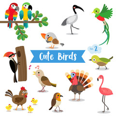 Cute Birds Animal cartoon on white background. Chicken. Chick. Flamingo. Parrot. Turkey. Nightingale. Woodpecker. Zebra Finch. Uguisu. Quetzal. Ibis. Robin. Vector illustration. Set 2.