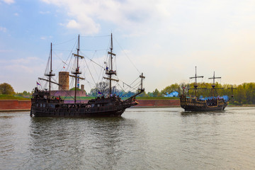 Armed galleons attacking the fortress Wisloujscie in Gdansk, Poland.