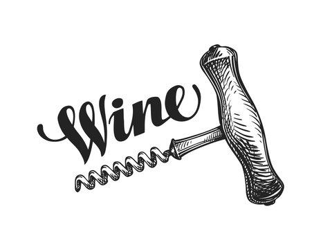 Wine corkscrew. Sketch vector illustration