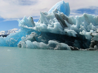 Blocks of ice floating in Lake Argentino