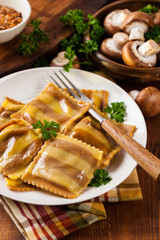 Mushroom Cheese Ravioli. Selective and soft focus.