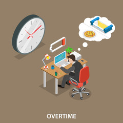 Overtime isometric flat vector illustration