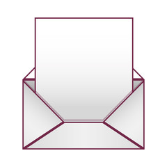 Blank paper envelopes opened with sheet vector illustration